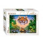 Пазлы 6000 элементов.  StepPuzzle Величественный тигр