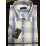 Рубашка мужская с коротким рукавом RETTEХ голубая клетка