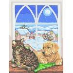 "Канва с рисунком Collection D'art  ""Животные у окна"" 30*40"